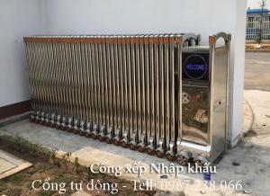 Mẫu cổng xếp inox 201 lắp đặt tại chi cục thuế Kim Bôi tỉnh Hòa Bình