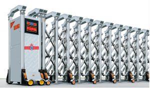 cổng xếp inox điện tự động