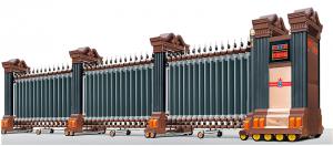 cổng xếp nhôm hợp kim tự động